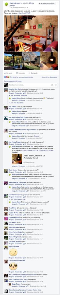 Publicaciones Clubrural en Facebook